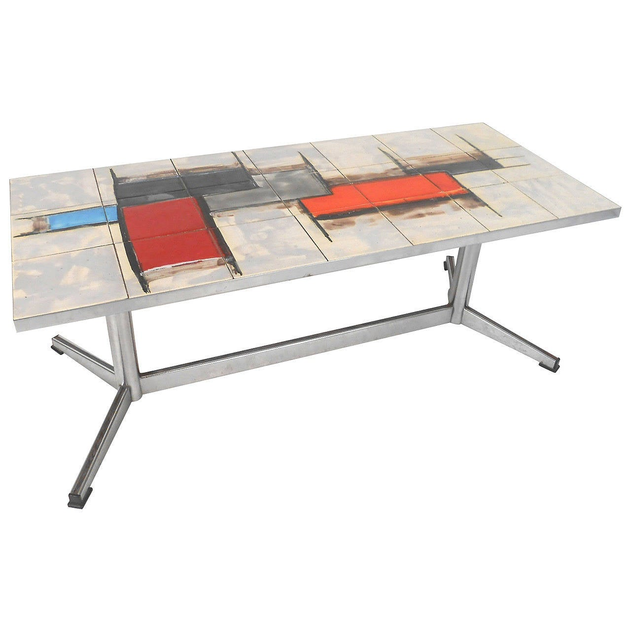 Mid Century Tile Top Coffee Table: French Mid-Century Modern Tile And Chrome Coffee Table At