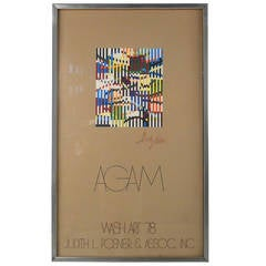 Mid-Century Modern Yaacov Agam Agamograph Art Print Wash Art, 1978