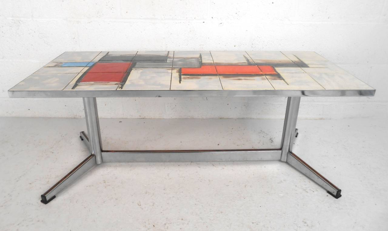 French Mid Century Modern Tile And Chrome Coffee Table At 1stdibs
