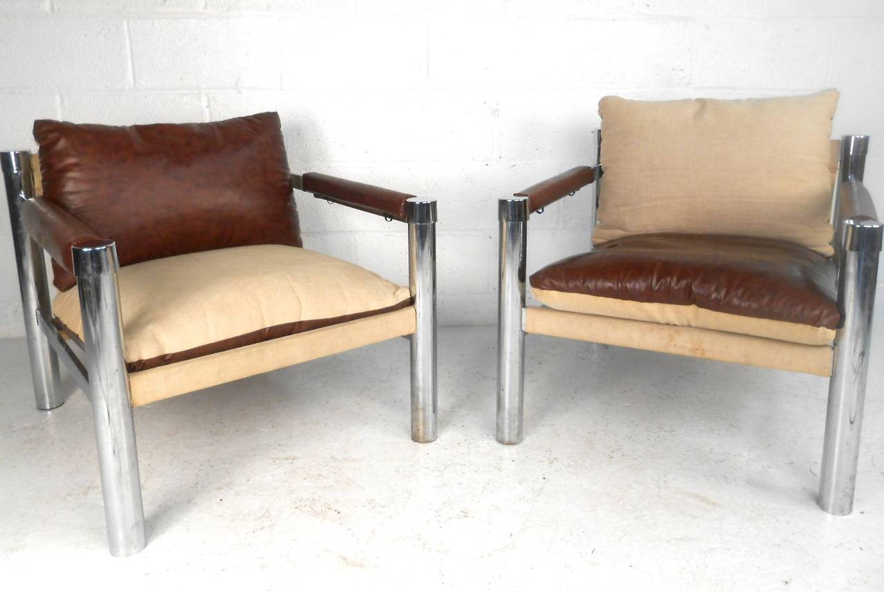 Peachy Pair Of Mid Century Modern Canvas And Chrome Club Chairs For Dailytribune Chair Design For Home Dailytribuneorg