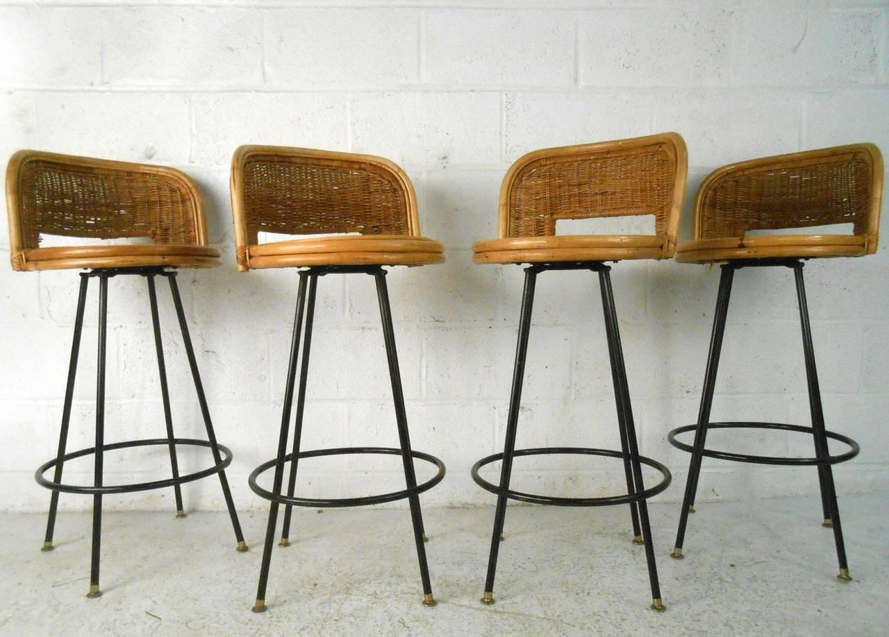 American Set Of Mid Century Modern Danny Ho Fong Tropi Cal Style Rattan  Barstools