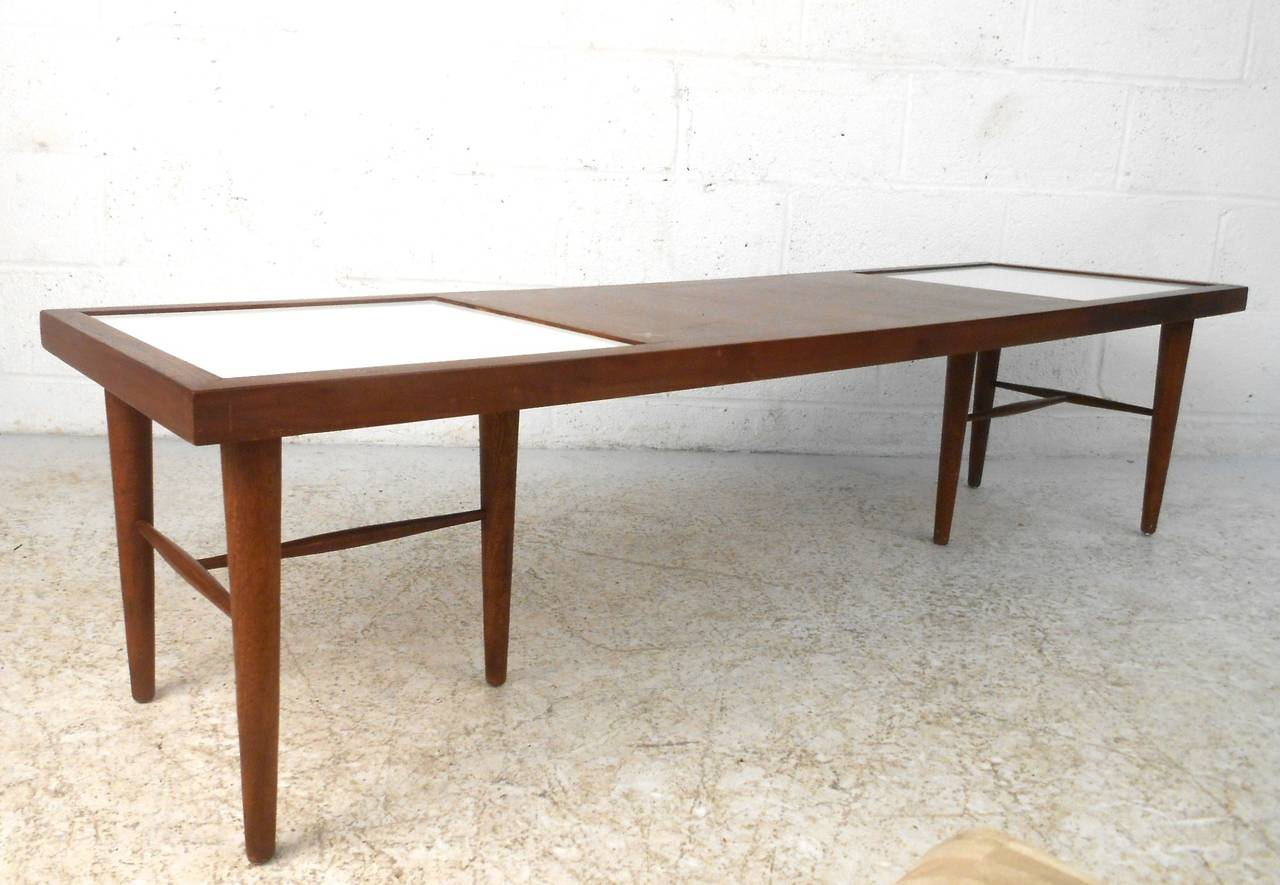American Of Martinsville MidCentury Modern Coffee Table With Tile - Coffee table with tile inlay