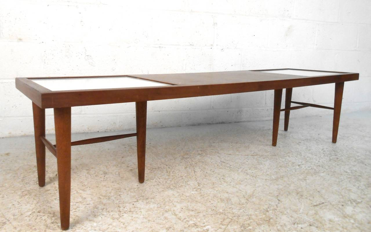 American Of Martinsville Mid Century Modern Coffee Table With Tile Inlay At 1stdibs