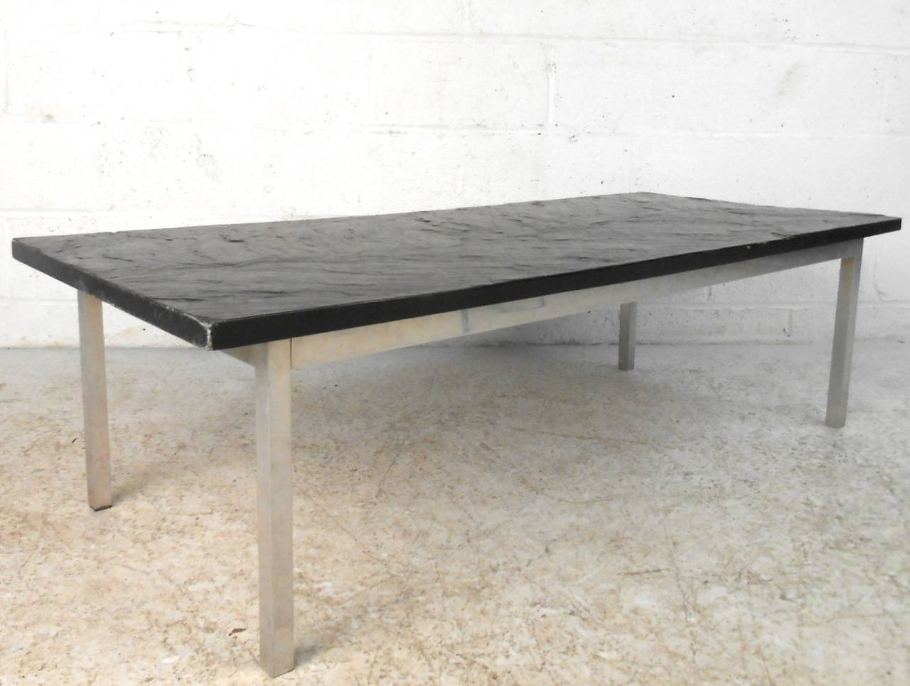 Mid-20th Century Poul Kjærholm Style Slate Top Coffee Table For Sale