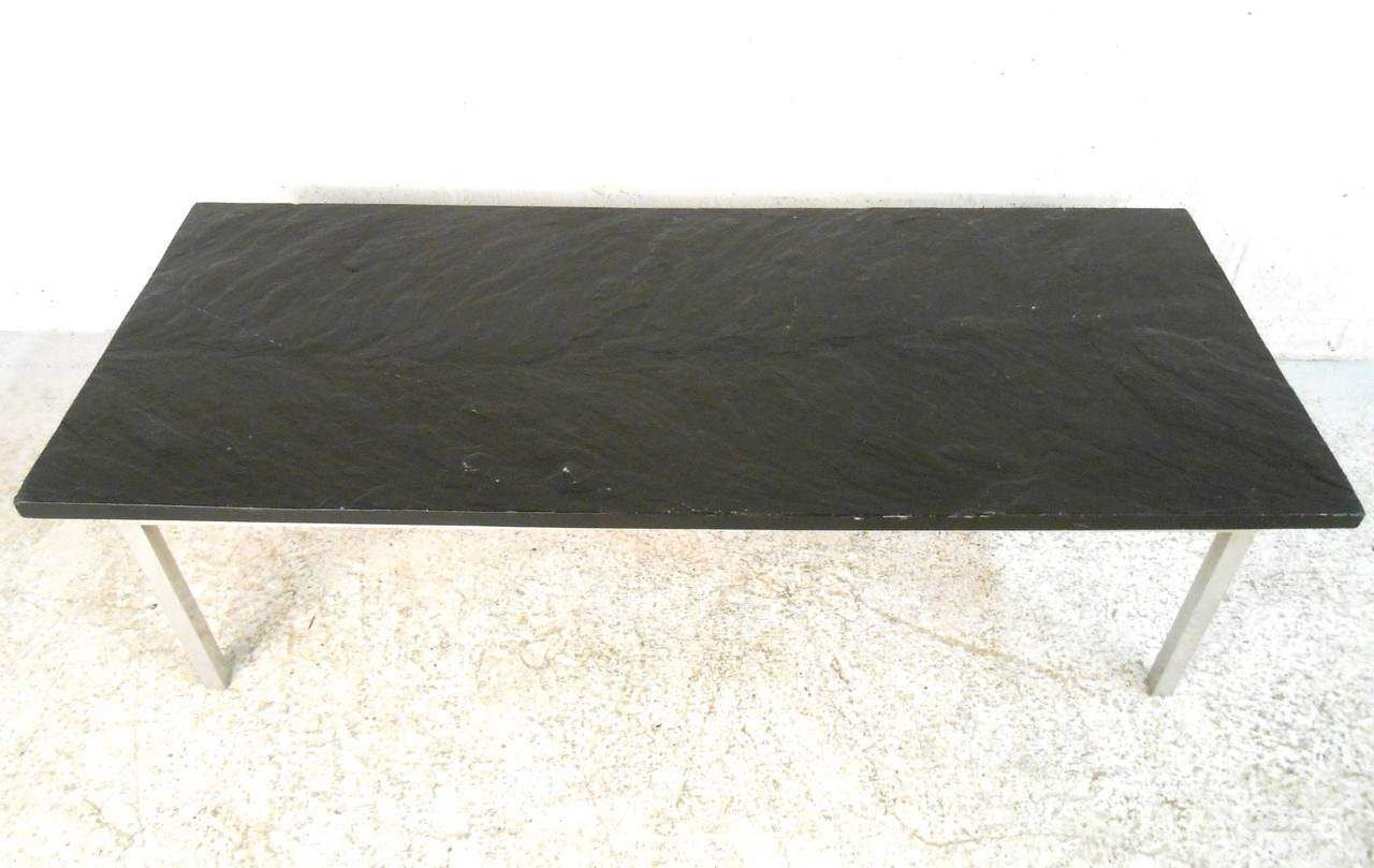 Mid-Century Modern Poul Kjærholm Style Slate Top Coffee Table For Sale