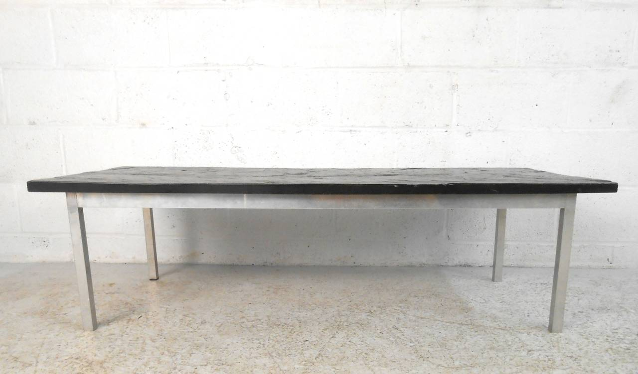 Poul Kjærholm Style Slate Top Coffee Table In Good Condition For Sale In Brooklyn, NY