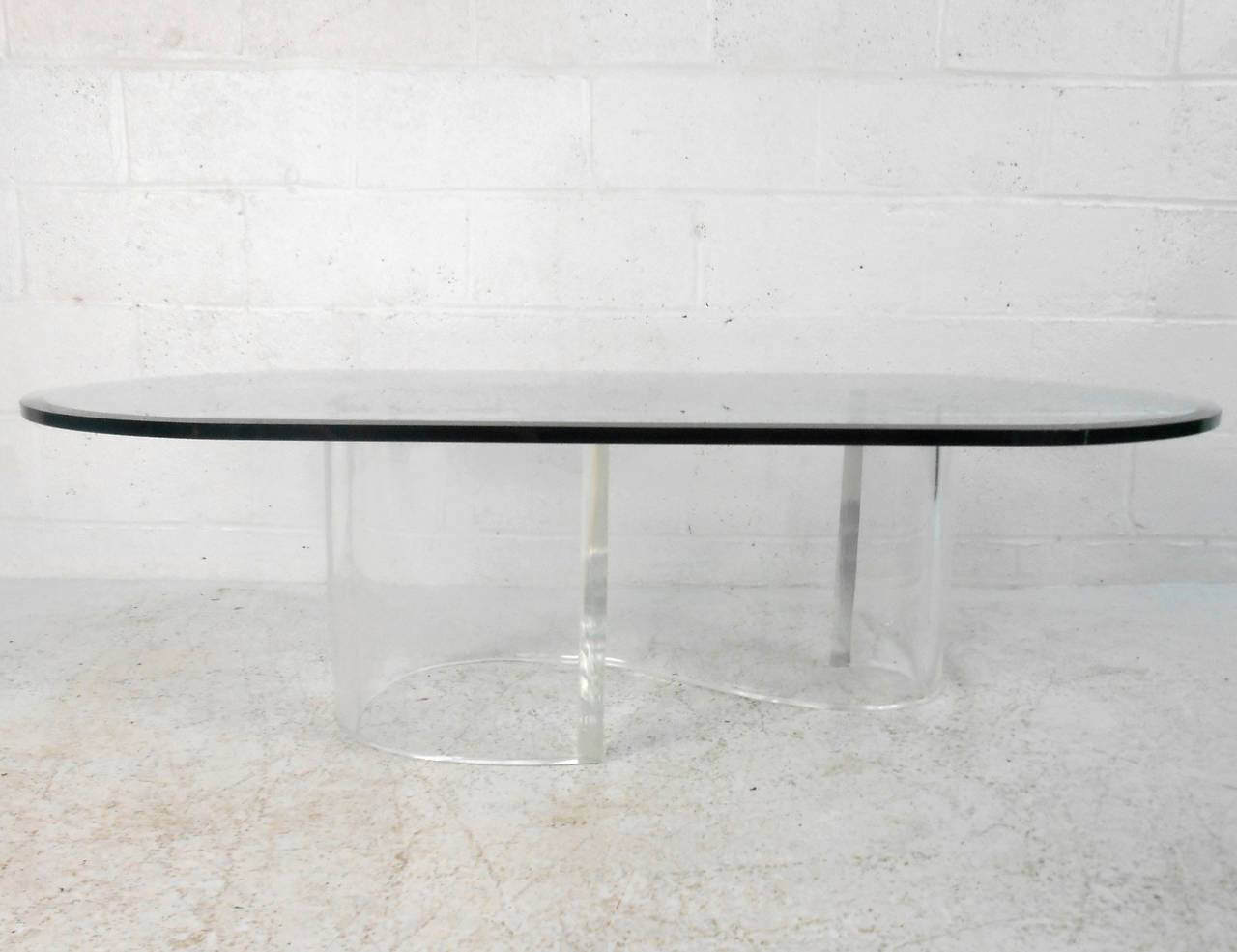 S Shaped Coffee Table Mid Century Modern S Shape Lucite Coffee Table With Beveled Glass