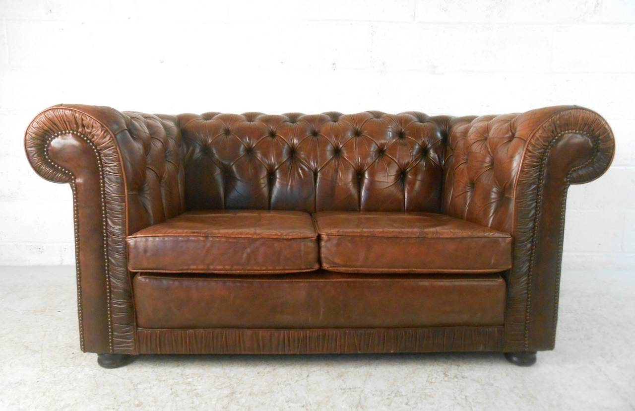 ... Mid-Century Modern Style Tufted Leather Chesterfield Sofa at 1stdibs