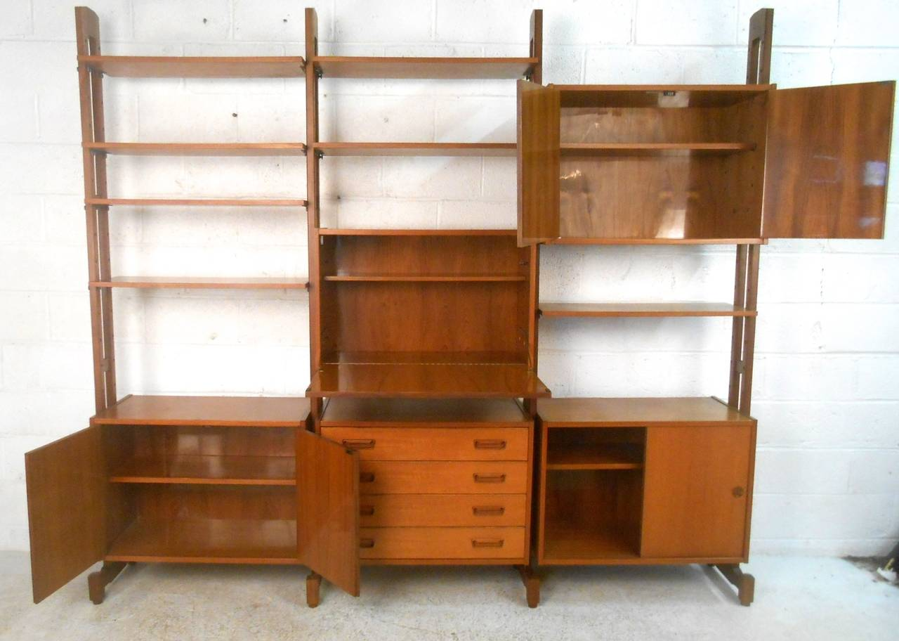 Unique Mid Century Modern Freestanding Teak Wall Unit Room
