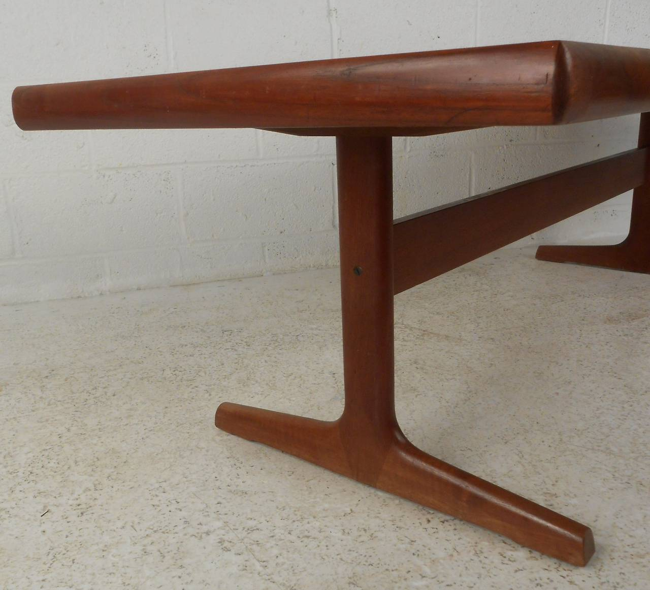 Teak Trestle Base Coffee Table At 1stdibs