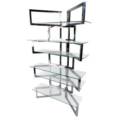 Unique Baughman Style Chrome and Glass Etagere