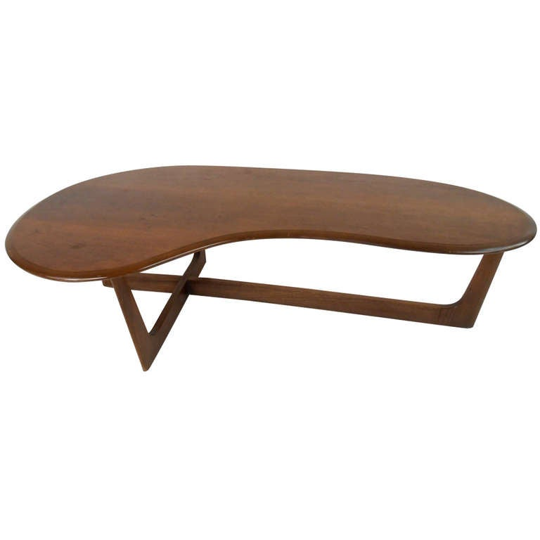 Lane Style Walnut Kidney Coffee Table At 1stdibs