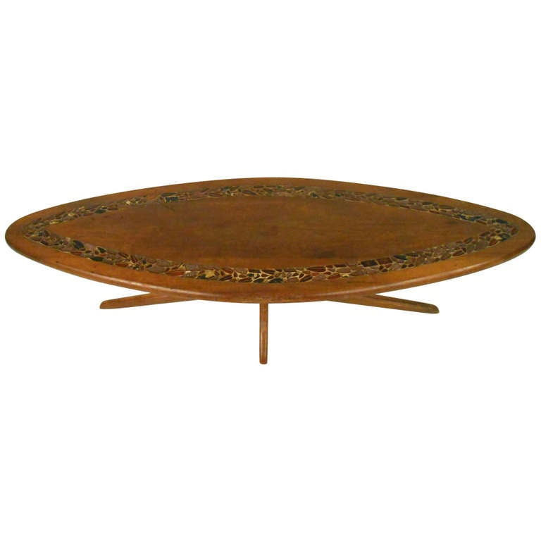 Midcentury Modern Walnut Coffee Table With Tile Inlay For Sale At - Coffee table with tile inlay