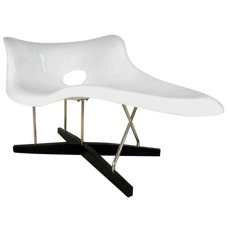 Mid century modern eames le chaise style lounge chair for for Century furniture chaise lounge