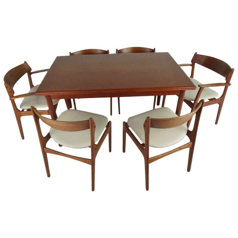 danish draw leaf dining table and six eric buch chairs at 1stdibs