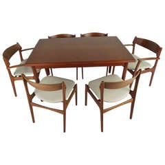 Danish Draw Leaf Dining Table and Six Eric Buch Chairs
