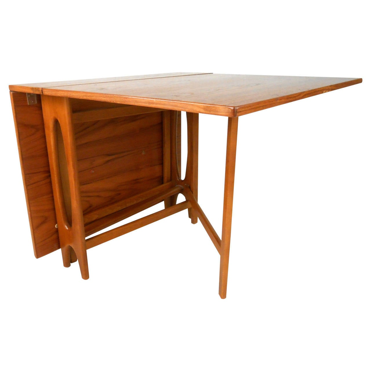 Mid century modern bruno mathsson style teak drop leaf for Mid century modern dining table