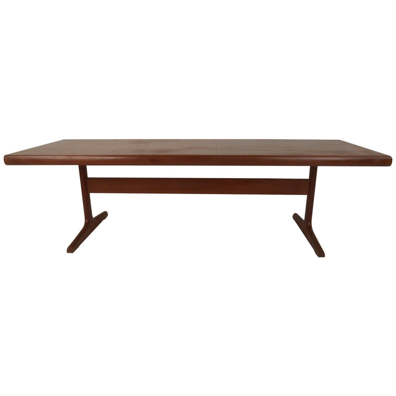 Teak Trestle Base Coffee Table For Sale At 1stdibs