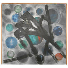 Mid-Century Modern Abstract Original Artwork on Canvas