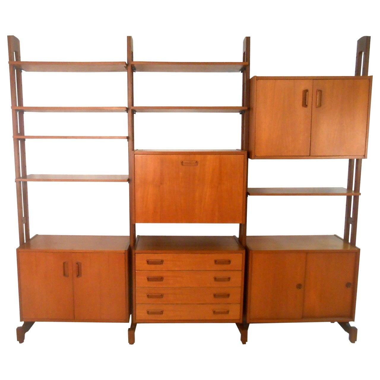 unique mid century modern freestanding teak wall unit room. Black Bedroom Furniture Sets. Home Design Ideas