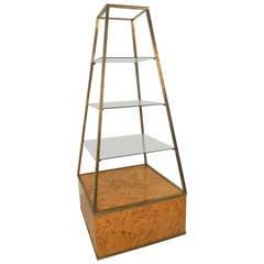 midcentury modern milo baughman style burl wood pyramid display tagre