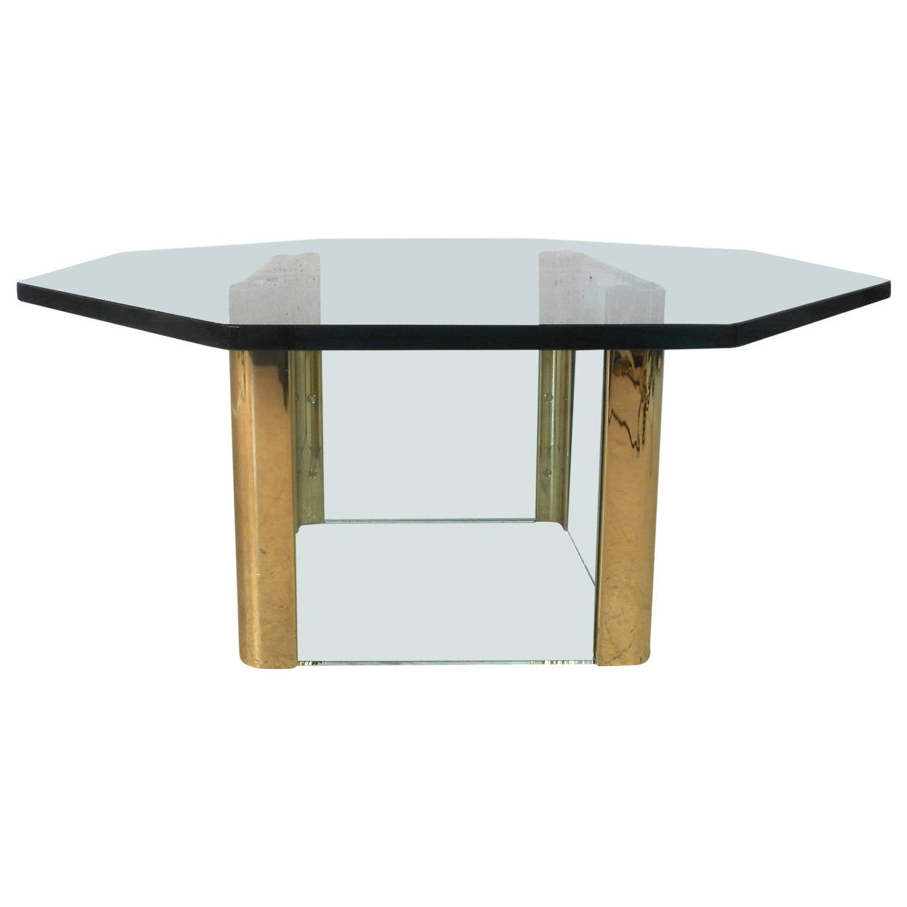 Mid-Century Modern Brass and Glass Octagonal Pace Style Coffee Table
