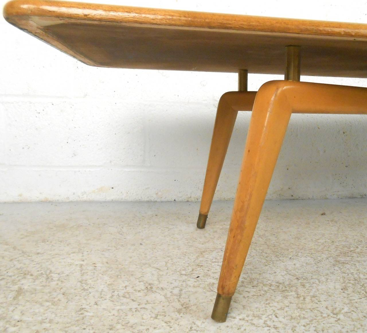 Unique Mid Century Modern Coffee Table With Brass Trim For Sale At 1stdibs
