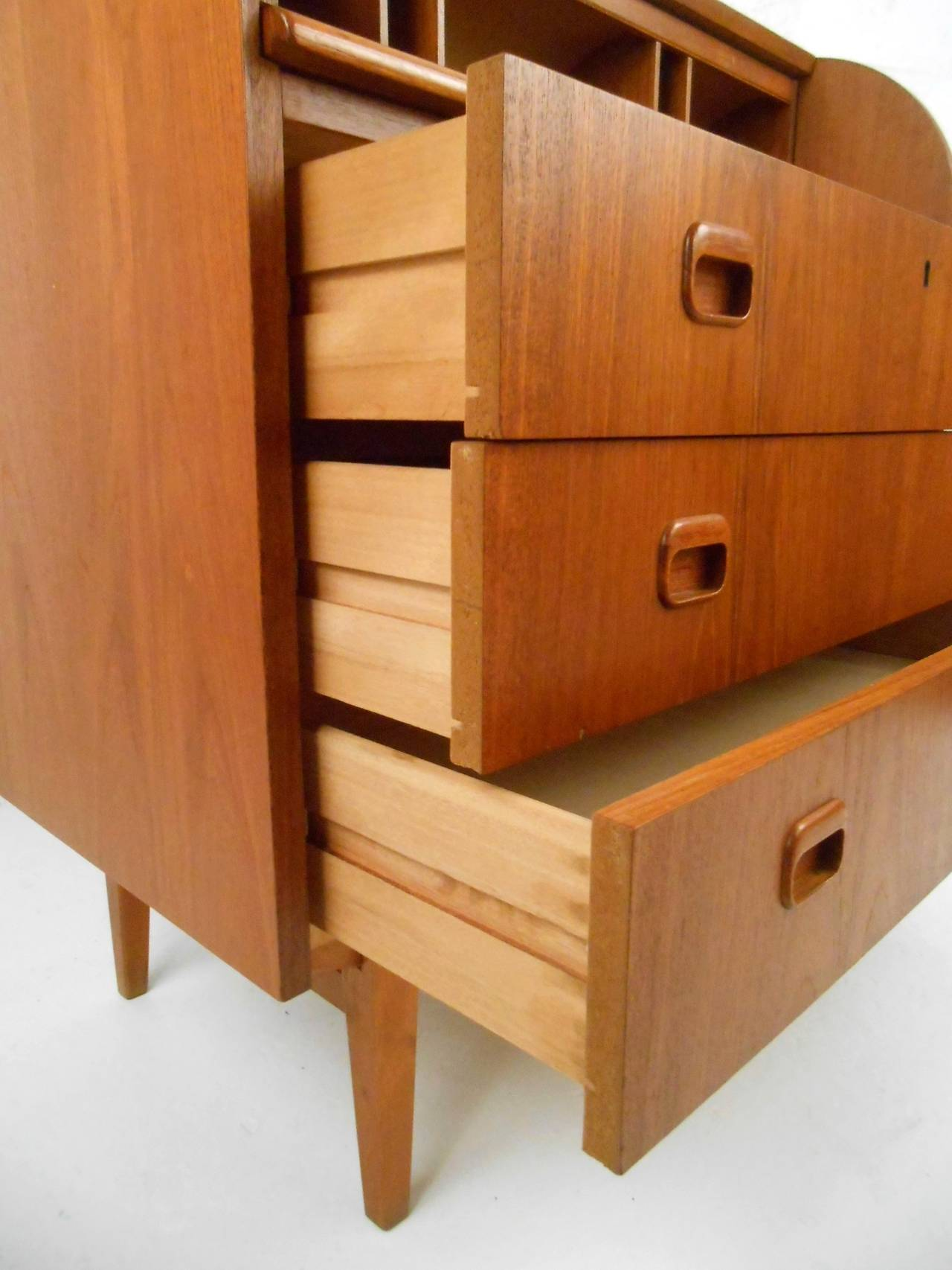 Mid Century Modern Danish Teak Roll Top Cylinder Desk At