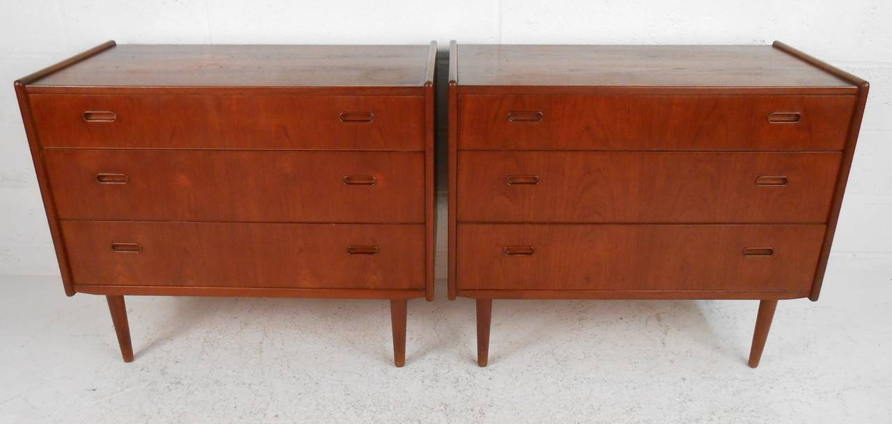 Pair Of Mid Century Modern Danish Teak Bedroom Dressers For Sale At 1stdibs