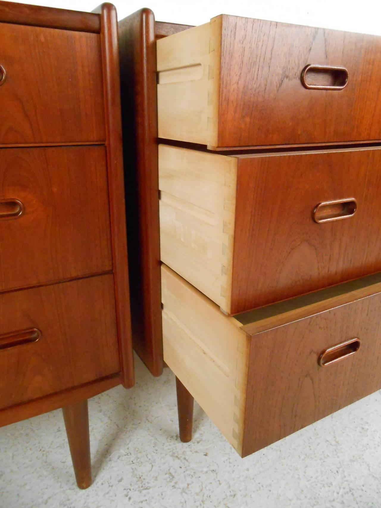 Pair of Mid Century Modern Danish Teak Bedroom Dressers For Sale at 1stdibs