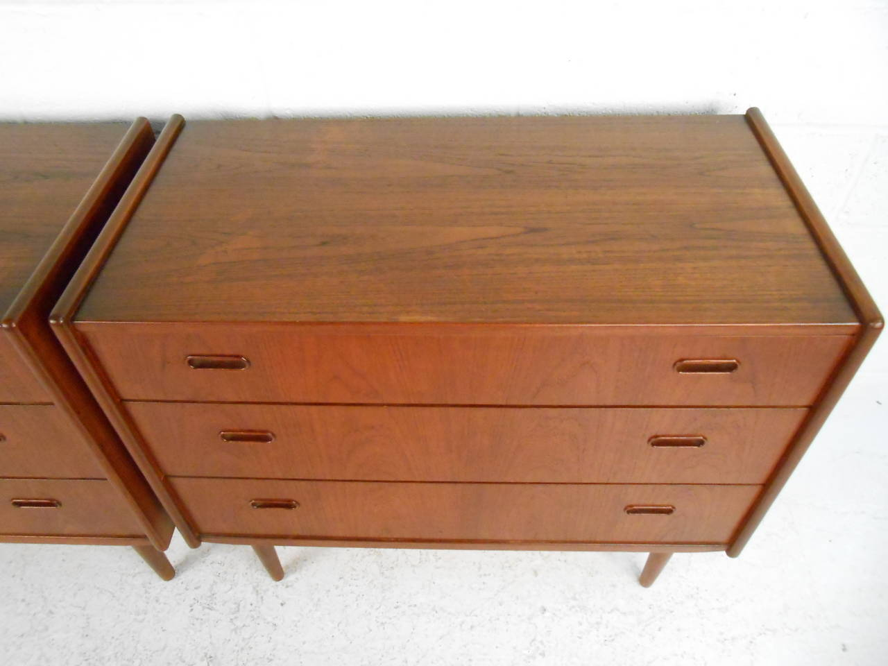 Pair of Mid-Century Modern Danish Teak Bedroom Dressers For Sale 2