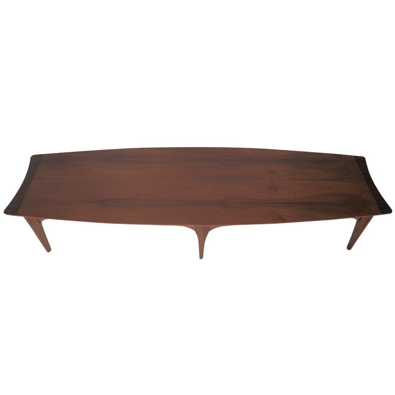 Reserved Mid Century Modern Lane Burl Wood Surfboard Coffee: Long Surfboard Style Mid-Century Coffee Table For Sale At