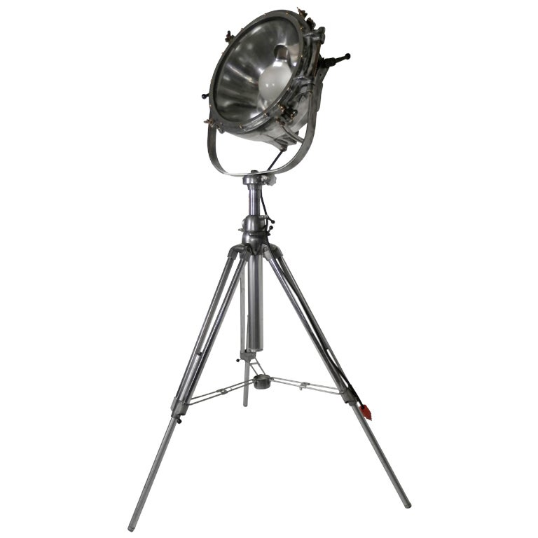 massive industrial spotlight on tripod at 1stdibs