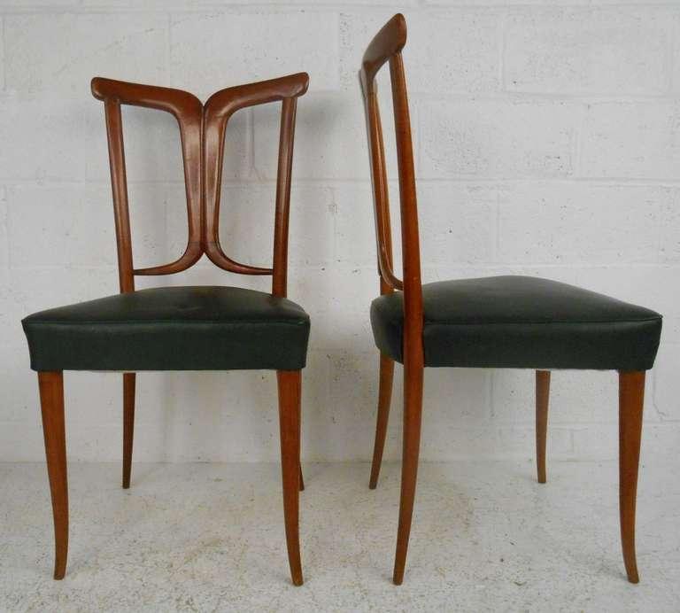 Italian Osvaldo Borsani Style Dining Chairs For Sale