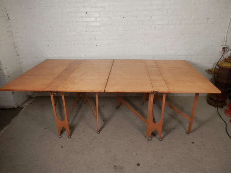 Massive Mid Century Maple Fold Out Dining Table At 1stdibs