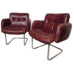 Pair of Mid-Century Tufted Leather Chairs by Harvey Probber