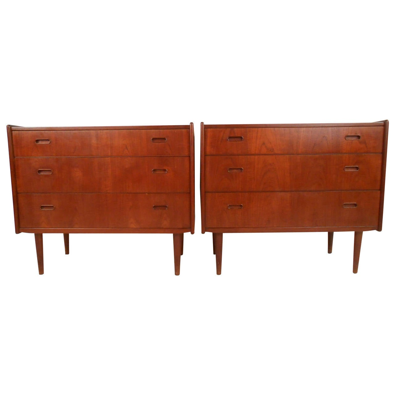 Pair Of Mid Century Modern Danish Teak Bedroom Dressers