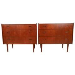 Pair Mid-Century Teak Bedroom Dressers