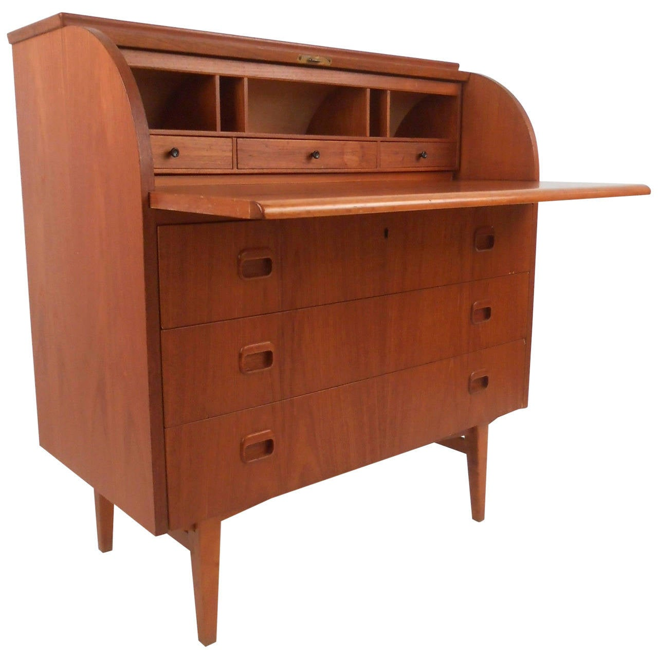 Mid Century Modern Danish Teak Roll Top Cylinder Desk At