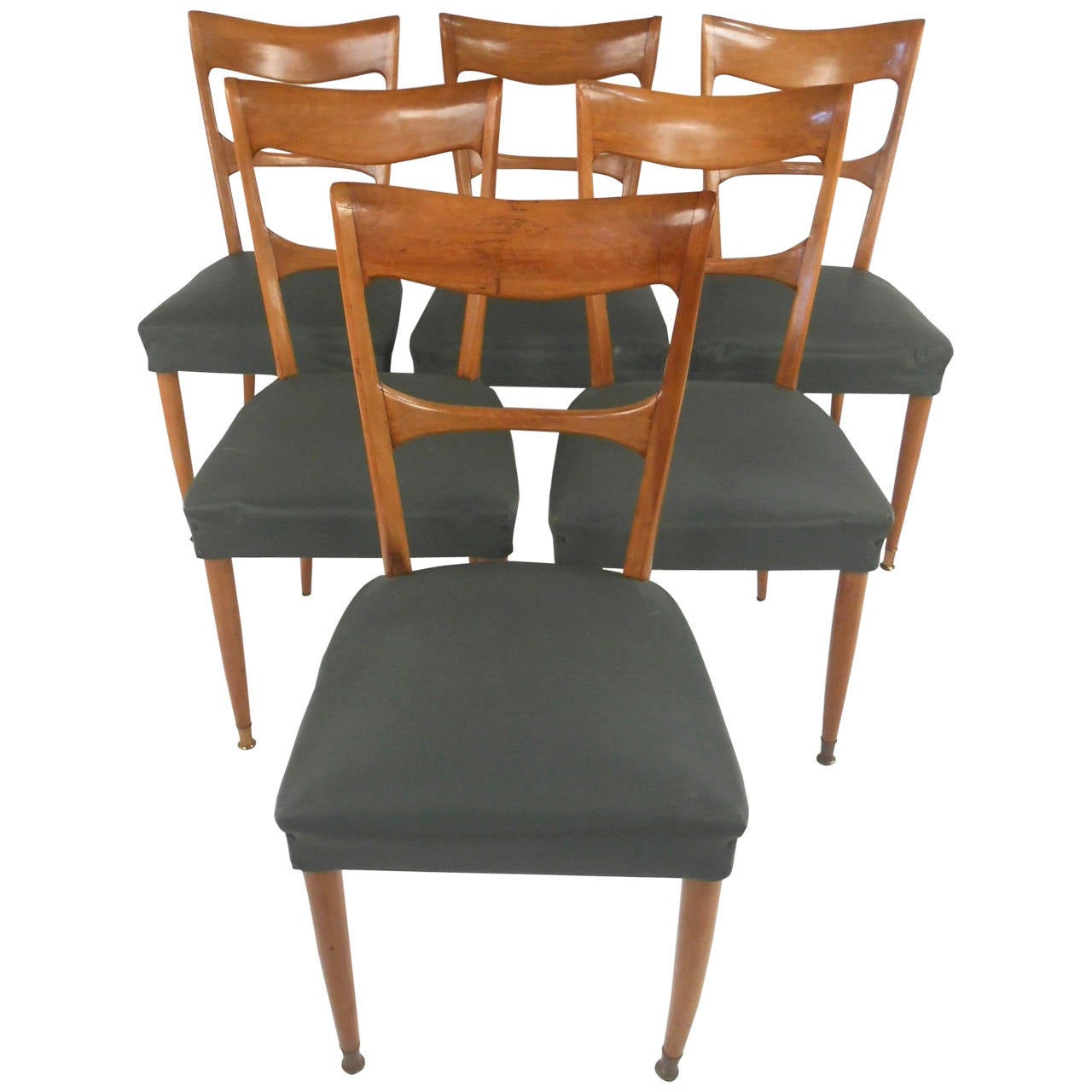 Set of italian mid century modern osvaldo borsani style for Italian dining chairs modern