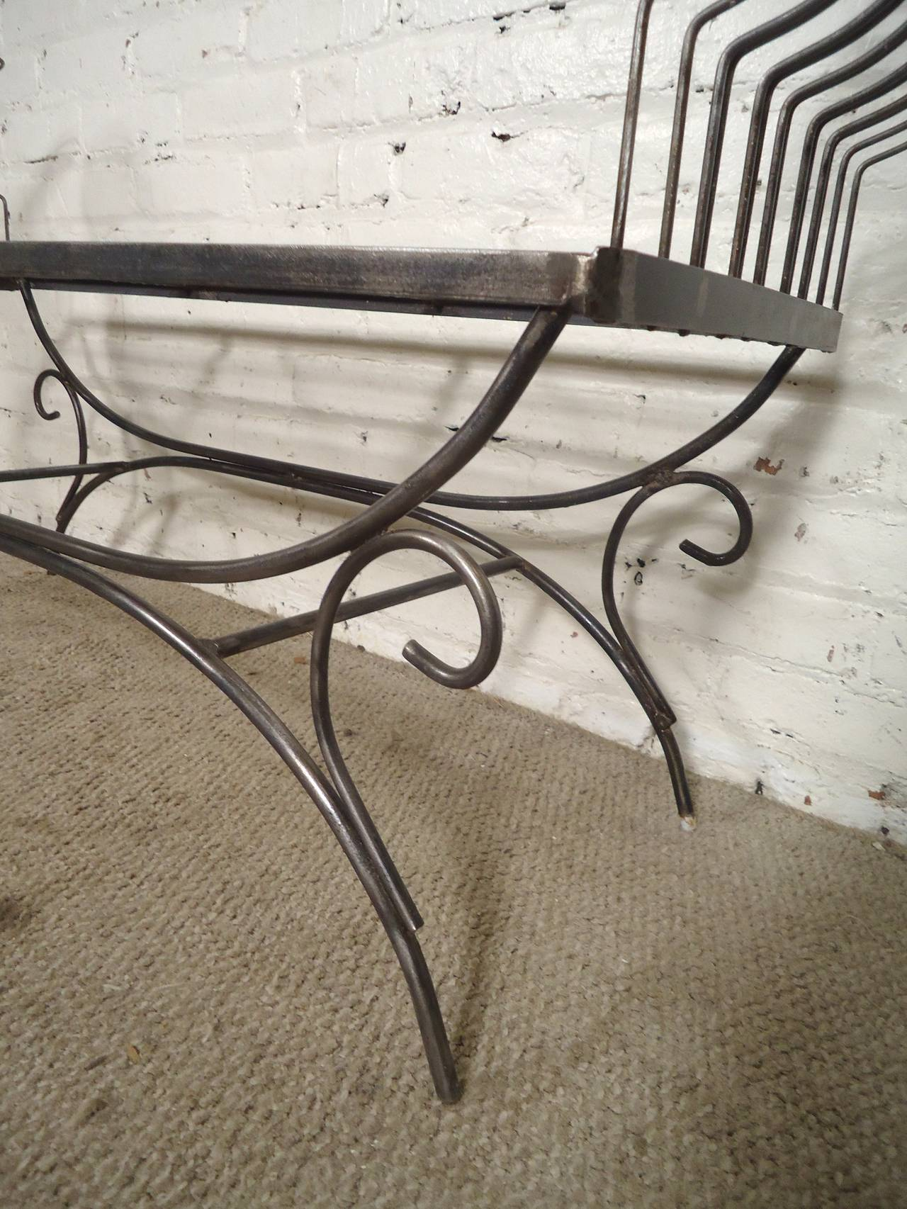 Industrial Rare Iron Bench with Ornamental Detailing For Sale
