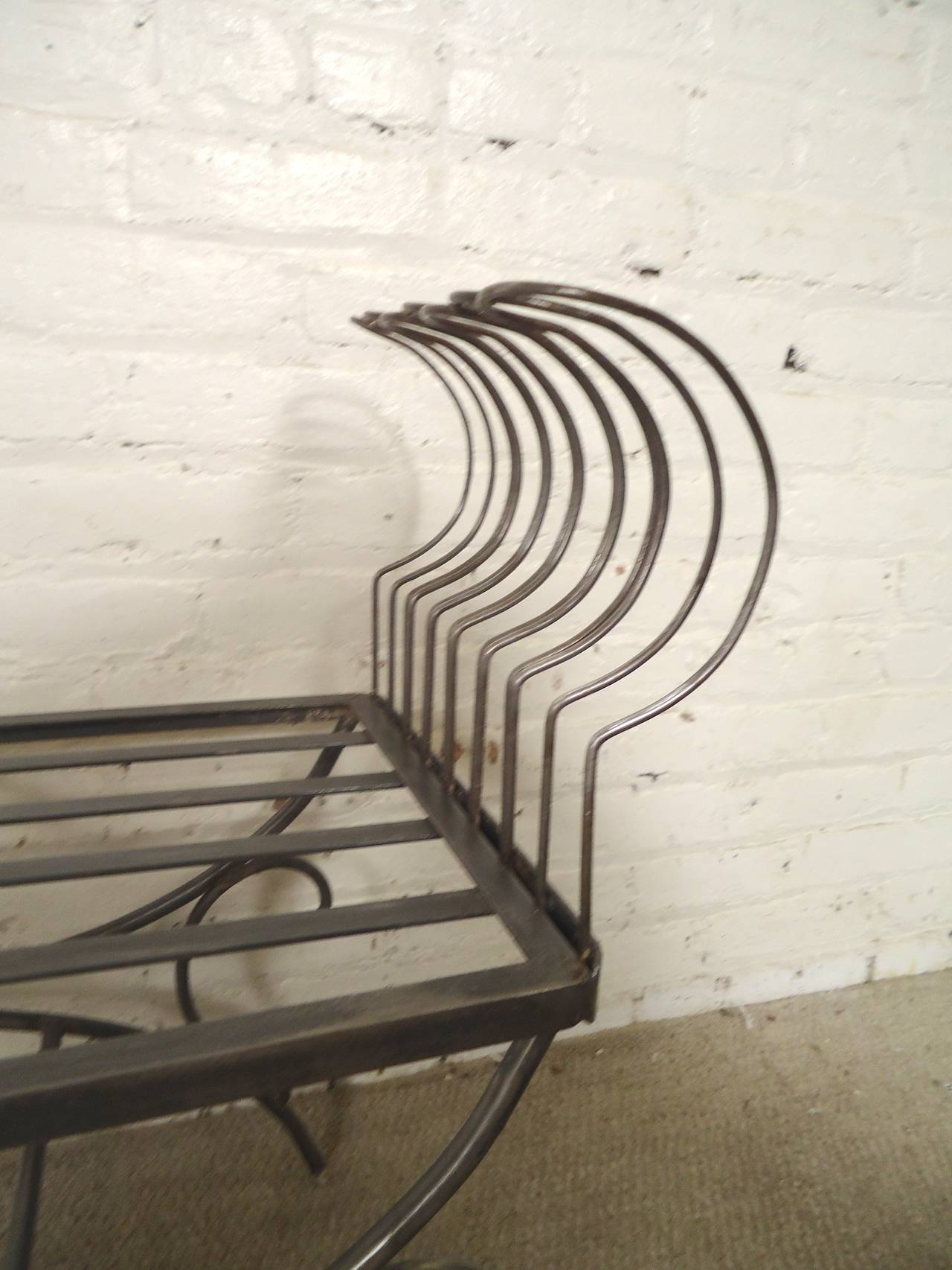 American Rare Iron Bench with Ornamental Detailing For Sale
