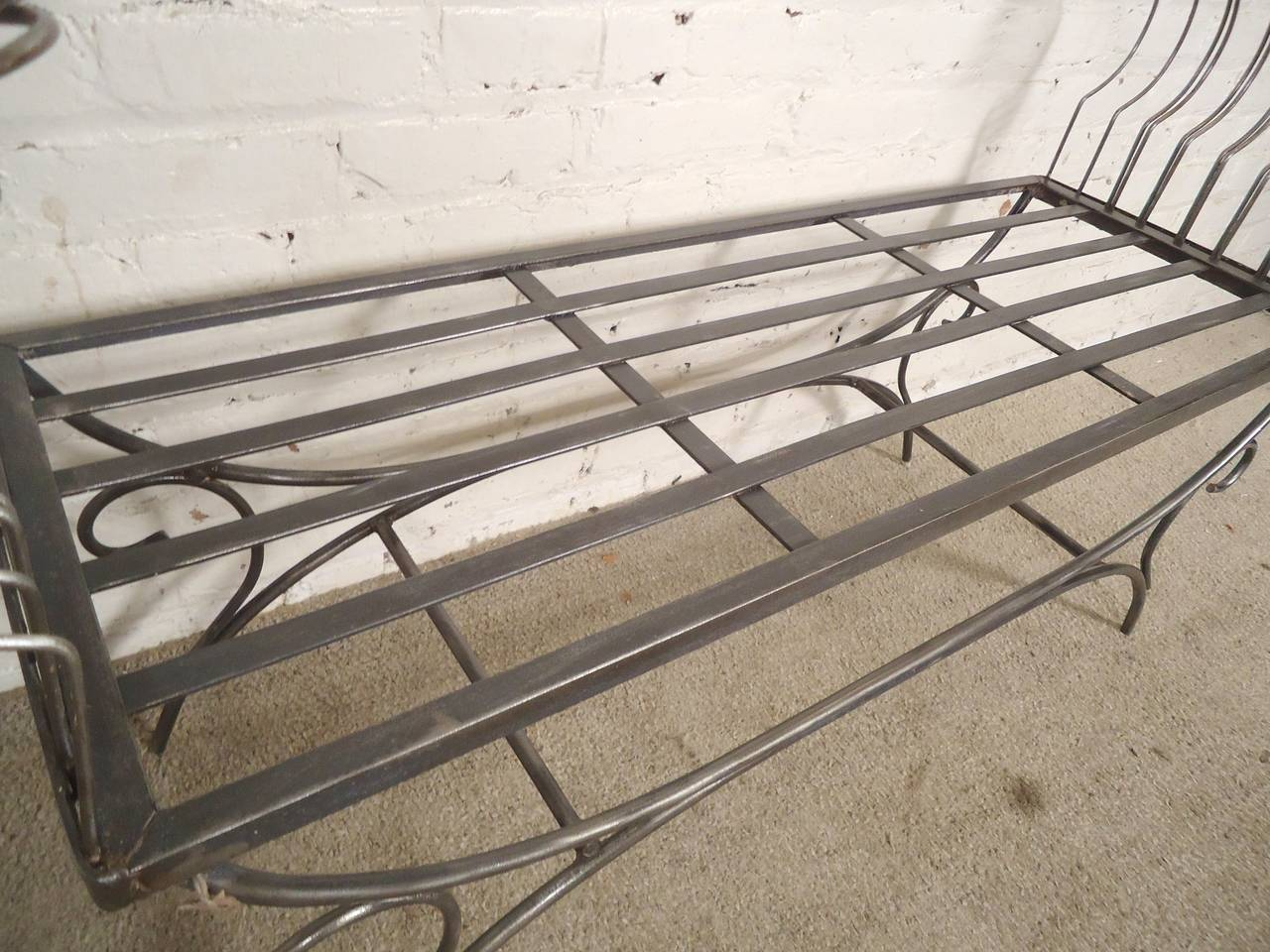 Rare Iron Bench with Ornamental Detailing In Distressed Condition For Sale In Brooklyn, NY