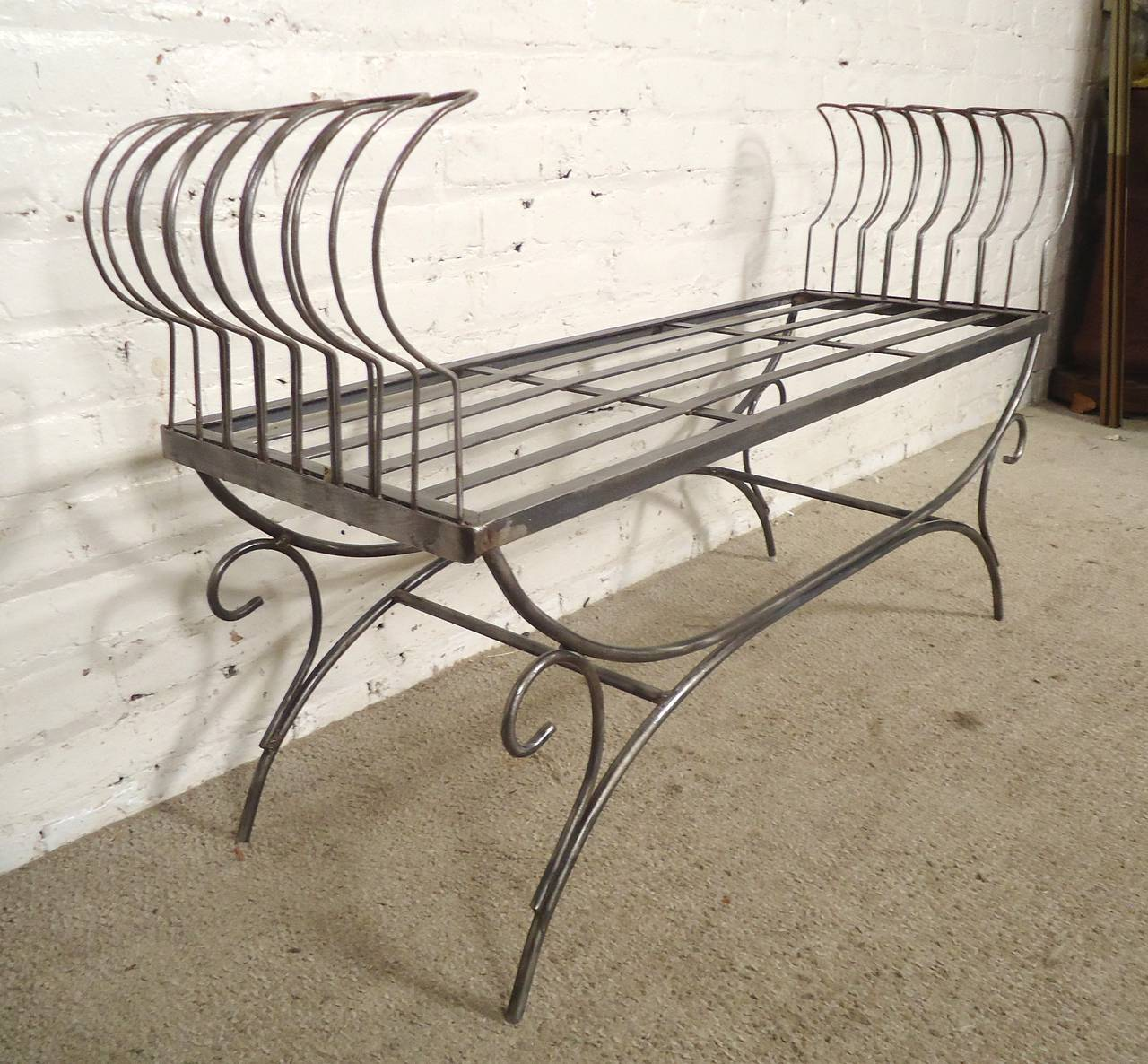 Mid-20th Century Rare Iron Bench with Ornamental Detailing For Sale
