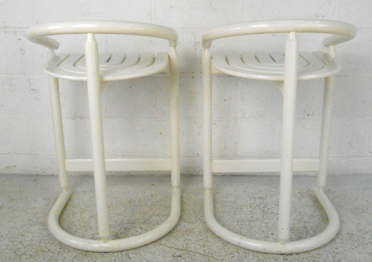 Slat seat mid century modern style counter stools for sale at 1stdibs