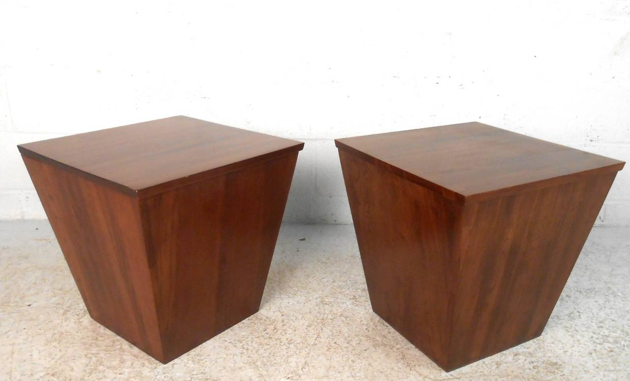 Pair Unique Mid Century Walnut Storage Cube End Tables At 1stdibs