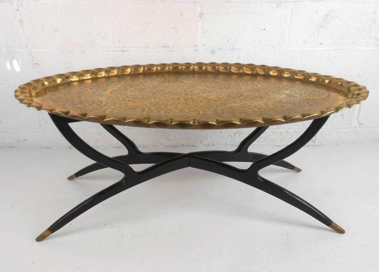 This Beautiful Removable Tray Top Coffee Table Features Etched Moroccan  Style Brass Tray Mounted On Collapsing