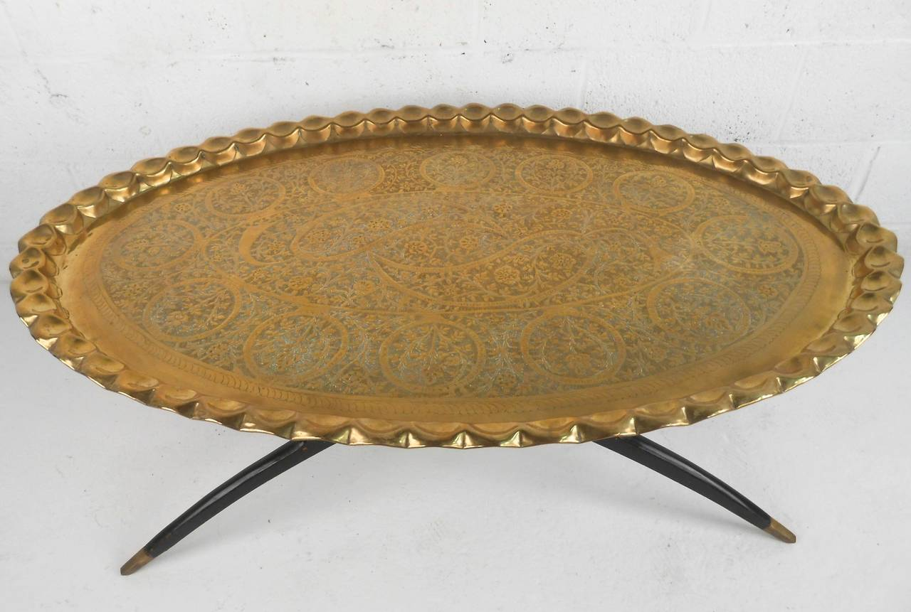 midcentury modern moroccan style tray coffee table at stdibs - midcentury modern moroccan style tray coffee table