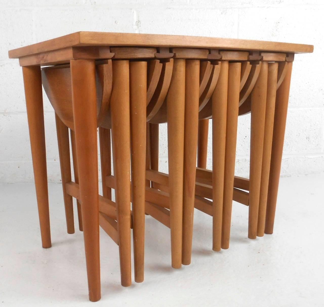 Vintage gateleg nesting tables after carlo jensen for sale