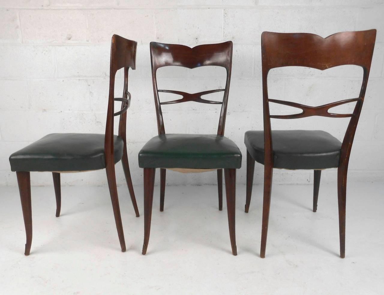 Set of guglielmo ulrich style mid century modern italian for Italian dining furniture